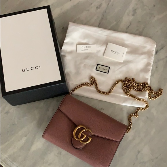 184d3ff878 Gucci GG Marmont Leather Wallet Chain Bag